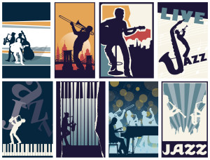 Set of 8 different vector jazz posters