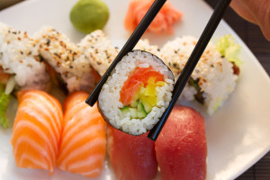 lunch with  sushi dish